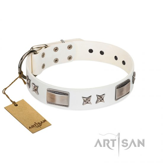 """Bling-Bling"" FDT Artisan White Leather Belgian Malinois Collar with Sparkling Stars and Plates"
