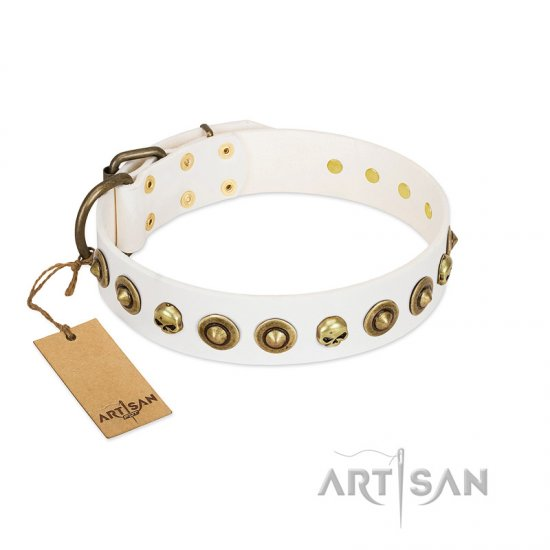"""Wondrous Venture"" FDT Artisan White Leather Belgian Malinois Collar with Skulls and Brooches"