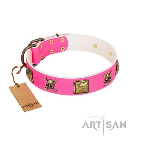 """Wild and Free"" FDT Artisan Pink Leather Belgian Malinois Collar with Skulls and Crossbones Combined with Squares"