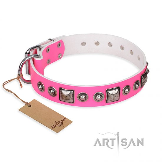 """Pink Dream"" FDT Artisan Leather Belgian Malinois Collar with Silvery Decorations"