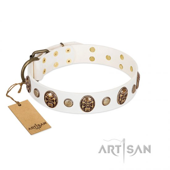 """Fatal Beauty"" FDT Artisan White Leather Belgian Malinois Collar with Old Bronze-like Studs and Oval Brooches"