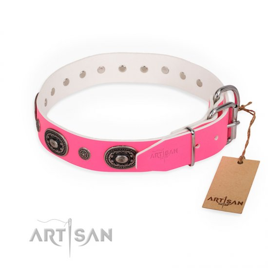 """Flavor of Strawberry"" FDT Artisan Flashy Pink Leather Belgian Malinois Collar"