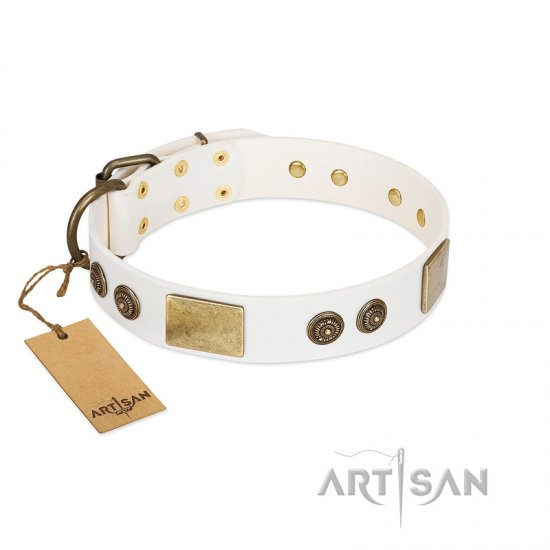 """Sweet Melody"" FDT Artisan White Leather Belgian Malinois Collar with Plates and Ornamented Studs"