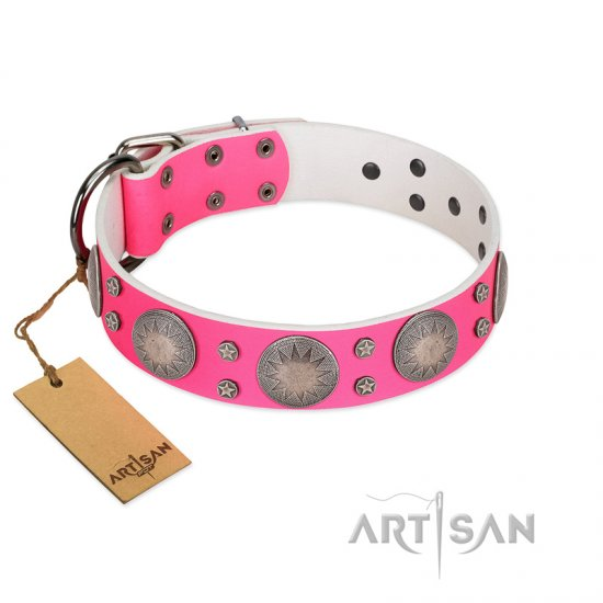 """Silver Star"" Fantastic FDT Artisan Pink Leather Belgian Malinois Collar with Engraved Studs"