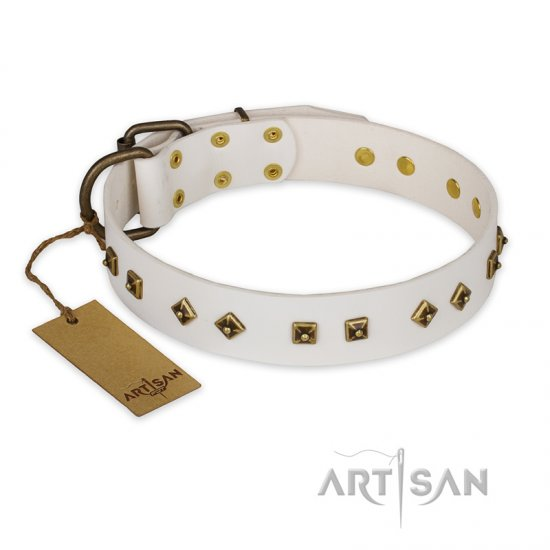 """Snow Cloud"" FDT Artisan White Leather Belgian Malinois Collar with Square and Rhomb Studs"