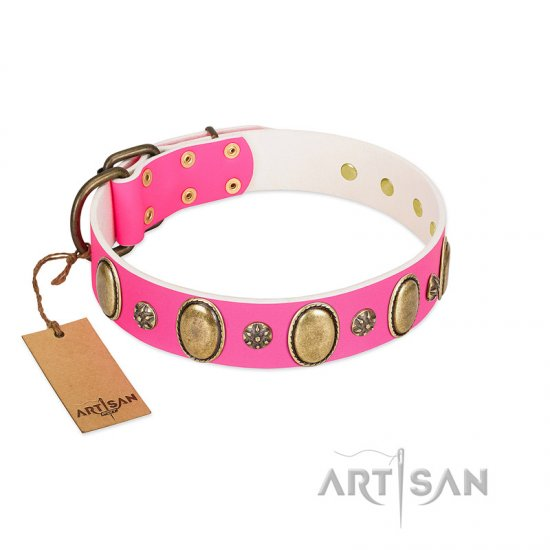 """Hotsie Totsie"" FDT Artisan Pink Leather Belgian Malinois Collar with Ovals and Small Round Studs"