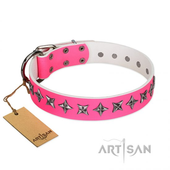 """Star Dreams"" FDT Artisan Pink Leather Belgian Malinois Collar with Silver-like Stars"