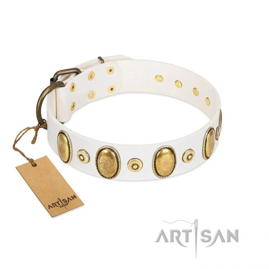 """Pearly Grace"" FDT Artisan White Leather Belgian Malinois Collar with Engraved Ovals and Small Dotted Studs"