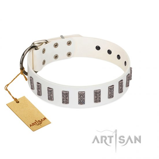 """Heaven's Gates"" Handmade FDT Artisan White Leather Belgian Malinois Collar with Silver-Like Engraved Plates"