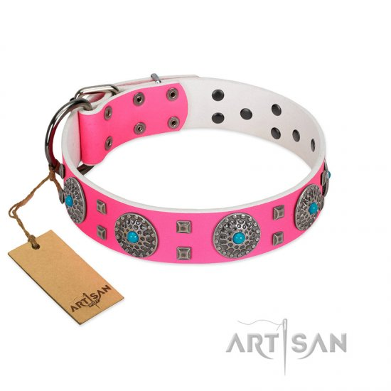 """Pink Delight"" FDT Artisan Pink Leather Belgian Malinois Collar for Everyday Walking"