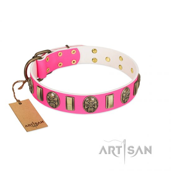 """Perilous Beauty"" Pink FDT Artisan Leather Belgian Malinois Collar with Small Plates and Skulls"