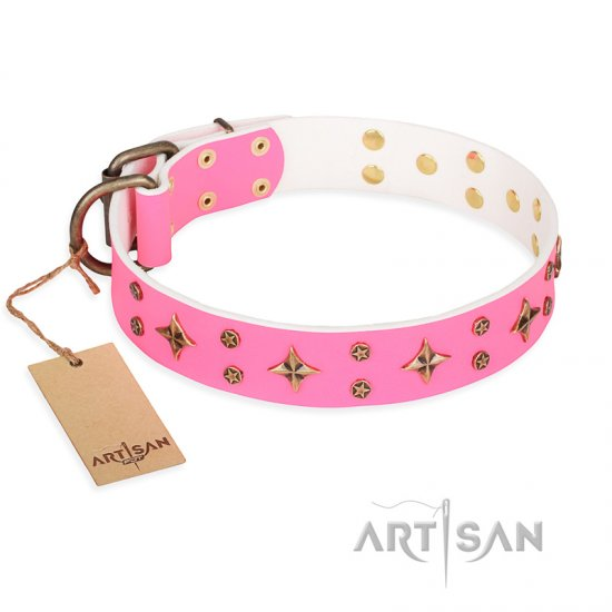 'Chi-Chi Pink Rose' FDT Artisan Leather Belgian Malinois Collar with Decorations