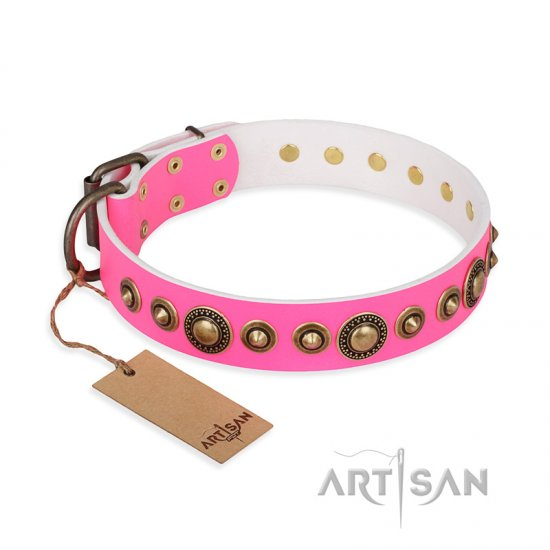 """Pink Gloss"" FDT Artisan Leather Belgian Malinois Collar with Old-Bronze Plated Circles and Studs"
