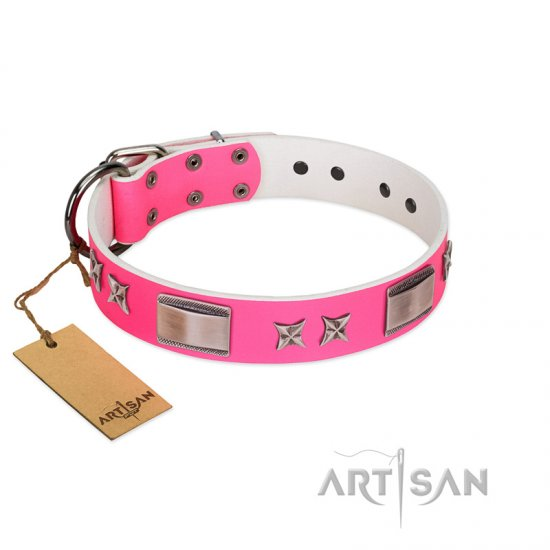 """Pinky Fantasy"" Pink FDT Artisan Leather Belgian Malinois Collar with Chrome-plated Stars and Large Plates"