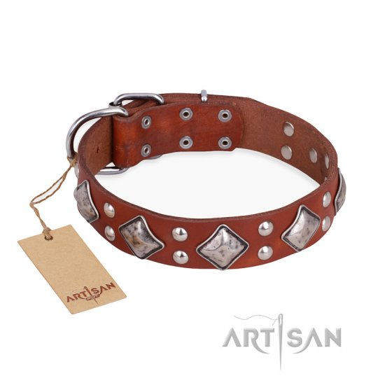 """Magic Squares"" FDT Artisan Tan Leather Belgian Malinois Collar with Silver-like Decor"