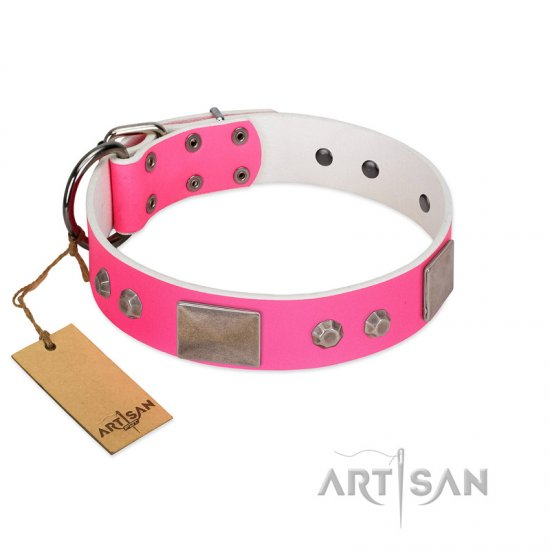 """Pink Blush"" Premium Quality FDT Artisan Pink Designer Belgian Malinois Collar with Plates and Studs"
