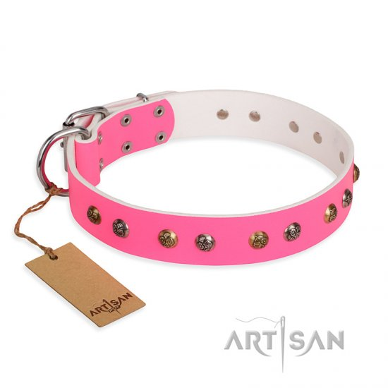 """Sheer love"" Pink Leather FDT Artisan Belgian Malinois Collar with Old-look Hemisphere Studs"
