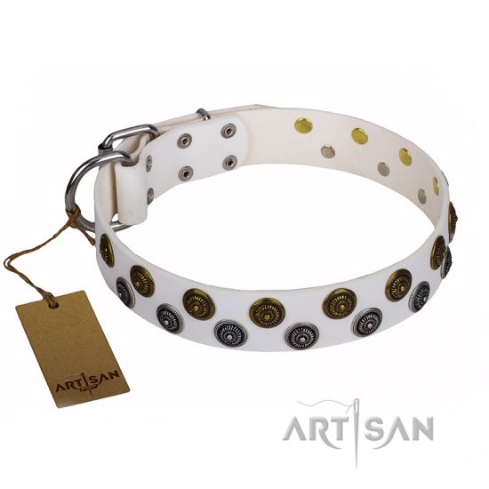 """Snowflake"" FDT Artisan White Leather Belgian Malinois Collar with Unique Set of Studs"