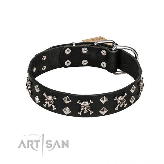 FDT Artisan 'Rock 'n' Roll Style' Leather Belgian Malinuas Collar with Skulls, Bones and Studs 1 1/2 inch (40 mm) wide