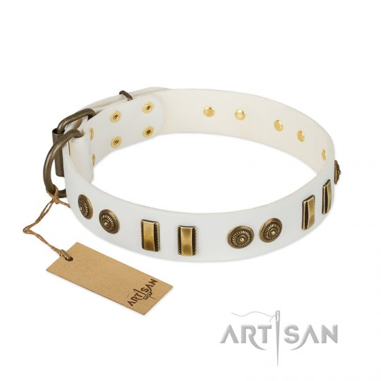 """Midsummer Snow"" FDT Artisan White Leather Belgian Malinois Collar with Old Bronze-like Plates and Circles"