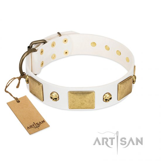 """Inspiration"" FDT Artisan White Leather Belgian Malinois Collar with Antiqued Skulls and Plates"