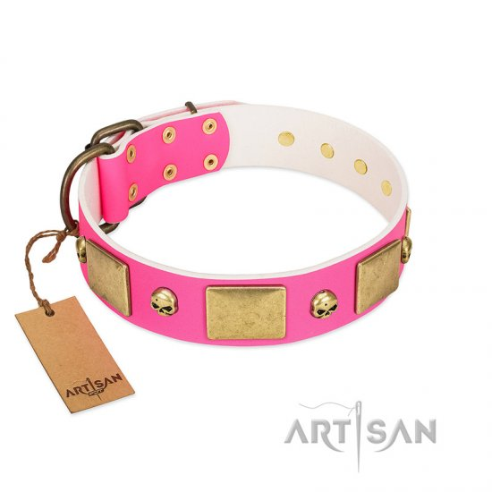 """Glammy Voyage"" FDT Artisan Pink Leather Belgian Malinois Collar with Stylish Bronze-like Decorations"
