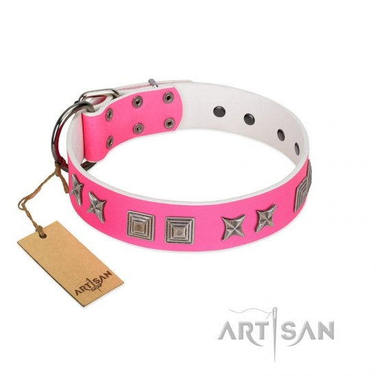 """Pink Wink"" Handcrafted FDT Artisan Pink Leather Belgian Malinois Collar with Plates and Stars"