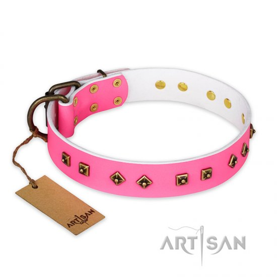 """Magic Pink"" FDT Artisan Decorated Leather Belgian Malinois Collar with Old Bronze-Plated Steel Hardware"