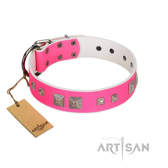 """Rosy Evolution"" Designer Handmade FDT Artisan Pink Leather Belgian Malinois Collar"