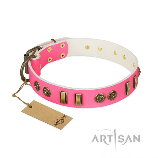 """Pink Amulet"" FDT Artisan Leather Belgian Malinois Collar with Old Bronze-like Plates and Circles"