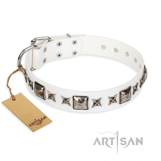 """Intergalactic Travelling"" FDT Artisan Handcrafted White Leather Belgian Malinois Collar"