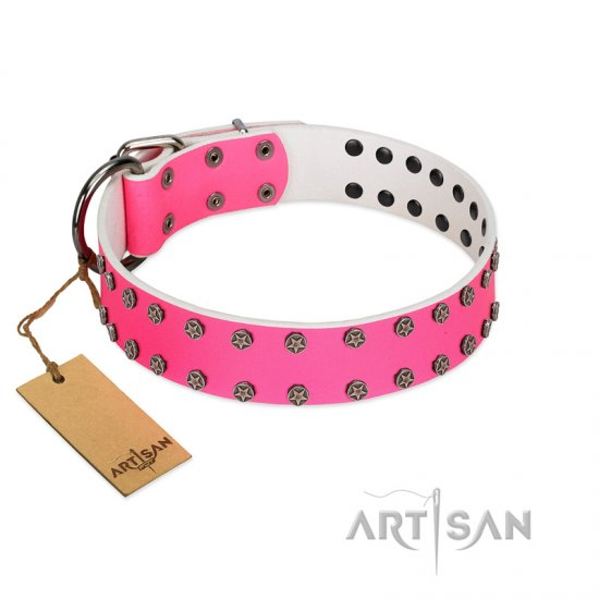"""Pink Fashion"" Designer FDT Artisan Pink Leather Belgian Malinois Collar with Silver-Like Studs"