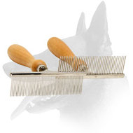 'Hair Designer' Belgian Malinois Comb with Wooden Handle