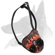 Belgian Malinois Leather Painted in Flames Dog Muzzle