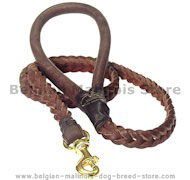 Braided Leather Dog Leash 4 foot-Braided Lead Belgian Malinois
