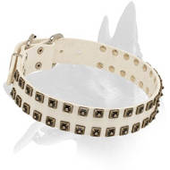 'Royal Comfort' White Leather Collar with Old Nickel Studs for Belgian Malinois Elegant Walking