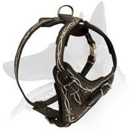 """Barbed Wire"" Painted Leather Harness for Belgian Malinois"