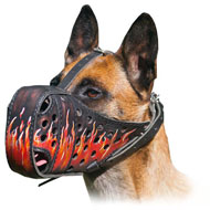Painted Flames Leather Muzzle for Belgian Malinois