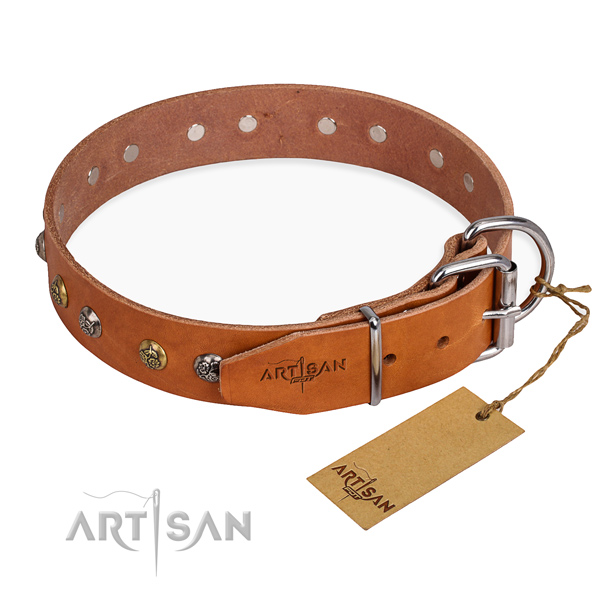 Leather dog collar with exquisite strong decorations
