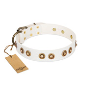 """Moonlit Stroll"" FDT Artisan White Leather Belgian Malinois Collar with Antique Decorations"