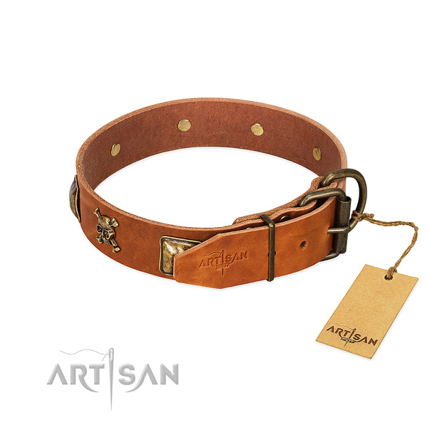 Inimitable natural leather dog collar with reliable studs