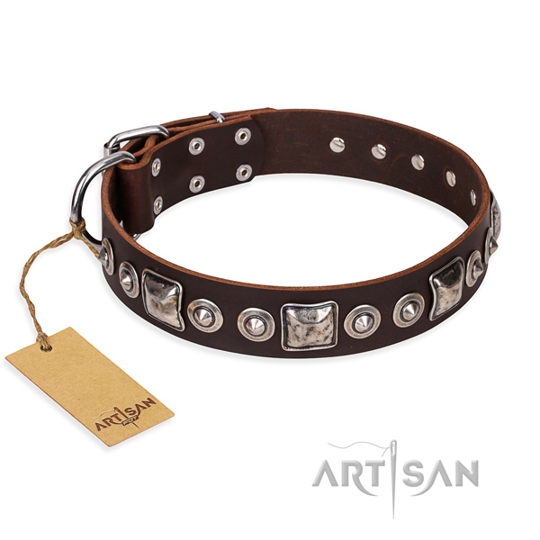 Full grain genuine leather dog collar made of reliable material with strong traditional buckle