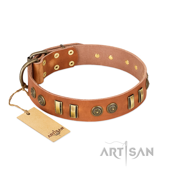 Rust-proof D-ring on full grain genuine leather dog collar for your dog