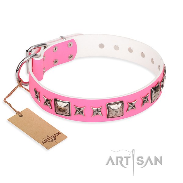 Genuine leather dog collar made of soft material with durable fittings