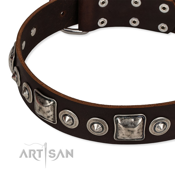 Strong full grain natural leather dog collar made for your lovely pet