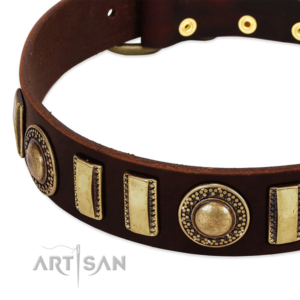 Durable full grain genuine leather dog collar with durable traditional buckle