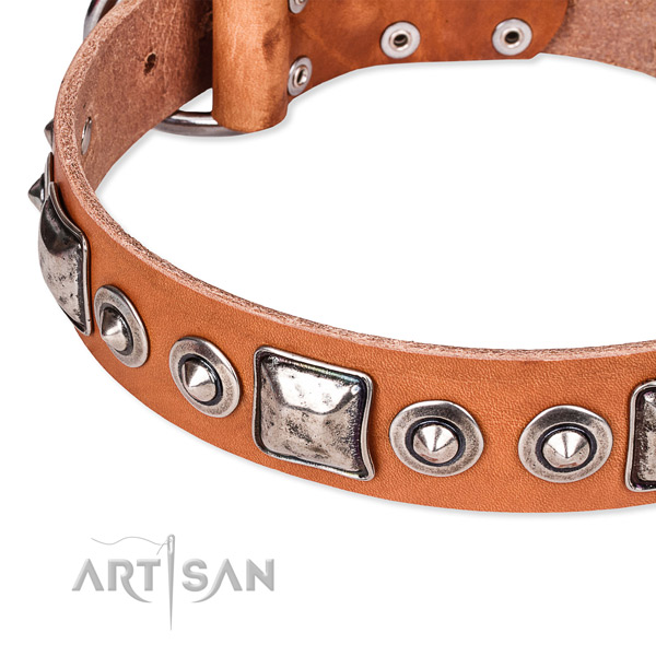 Soft to touch natural genuine leather dog collar handcrafted for your impressive dog