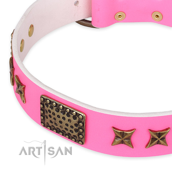 Genuine leather collar with rust-proof traditional buckle for your lovely dog