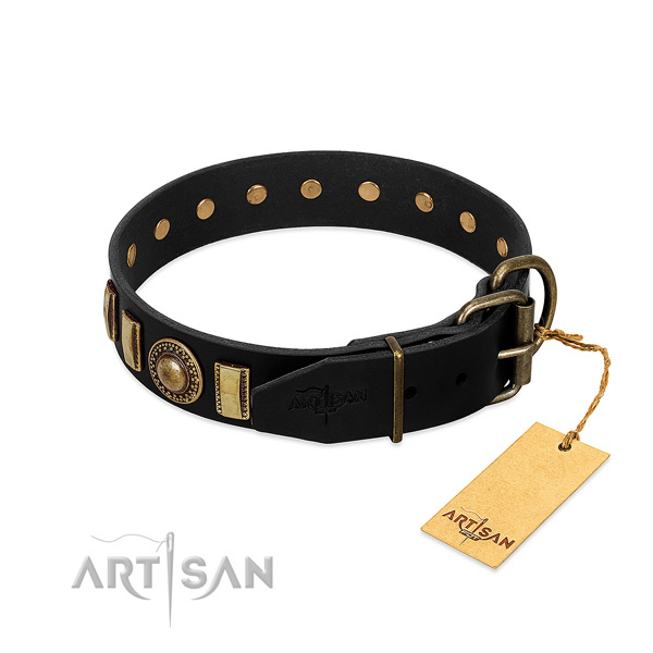 Gentle to touch full grain genuine leather dog collar with studs