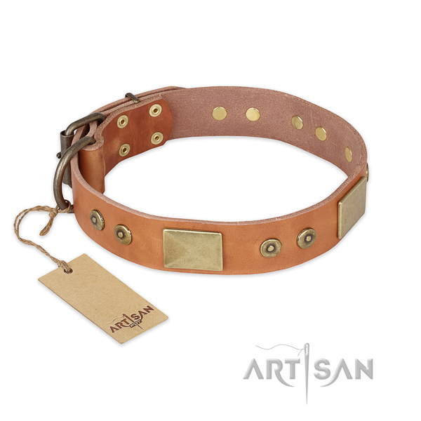 Comfortable full grain natural leather dog collar for everyday use